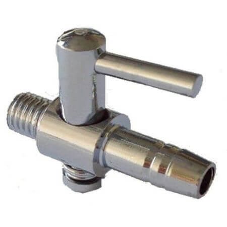 1-way air valve / chrome-plated brass - tap thread