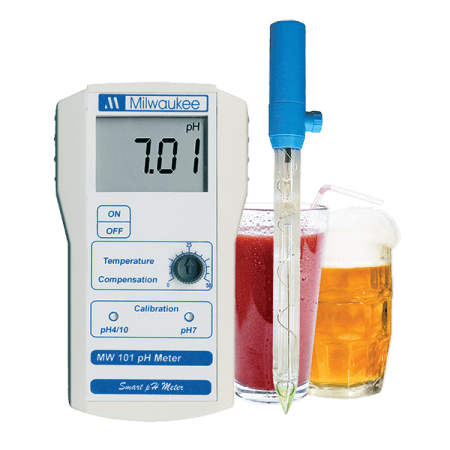 Milwaukee Portable pH meter 0.00-14.00 with 2 point manual calibration, incl electrode