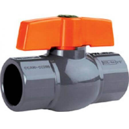 PVC ball valve - gray - single swivel