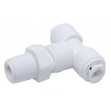 "T-piece for osmosis hose 6mm - 2 x quick-fit connection - 1 x 1/4 ""thread"